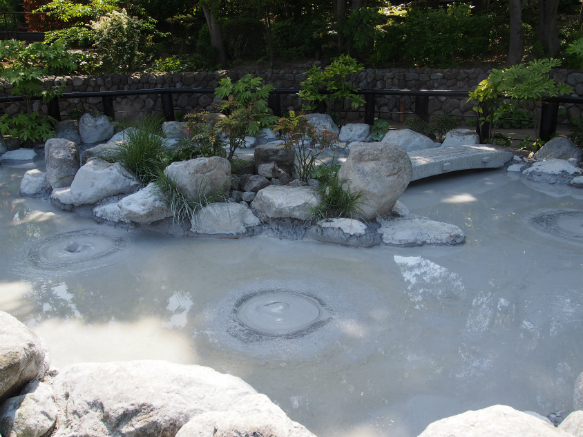 別府地獄めぐり 鬼石坊主地獄の泥パックみたいな池