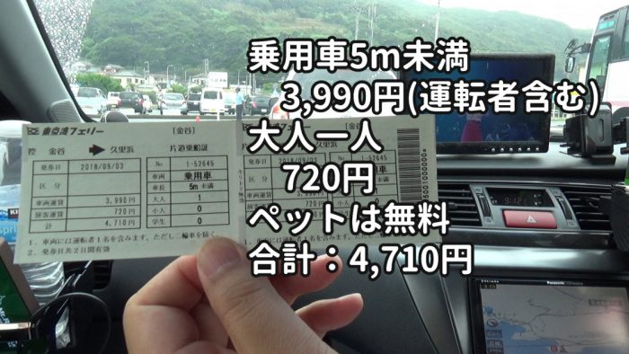 東京湾フェリー 車両とペットの料金